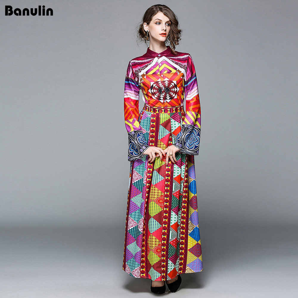 48734d434e338 Banulin High Quality New 2018 Autumn Fashion Runway Maxi Dresses Women's  Long Sleeve Printed Tribe Vintage Long Gorgeous Dress