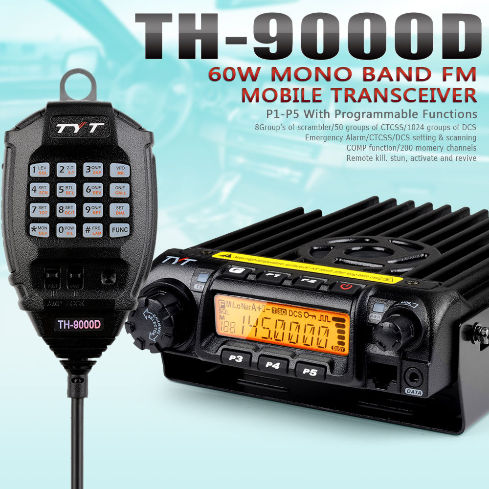 Fast Shipping Original 60W TYT TH-9000D VHF 136-174MHZ Mobile Car Station Transceiver