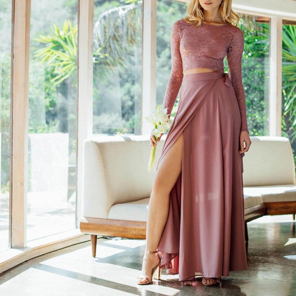 e65bc505429575 Goede Kopen 2019 Mesh Kant Mode Roze Jurken Sexy Vrouwen Roze Vrouwelijke  De Jurk Party Lange Mouwen Crop Top vrouwen pak tweedelige set Goedkoop.