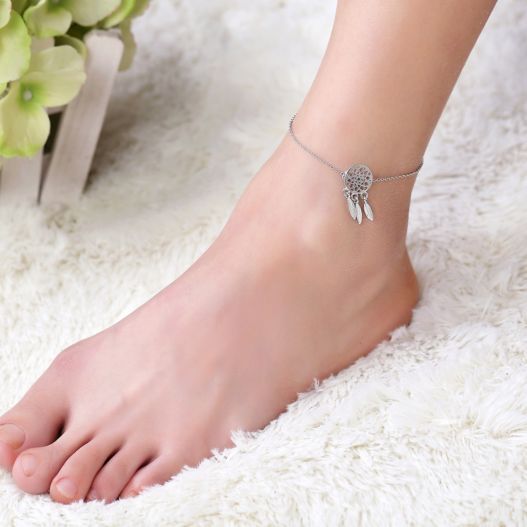 Dream Catcher Feather Tassels Anklet Bracelet 925 Silver Women Girl Lover Barefoot Anklet Fashion Foot Jewelry 024