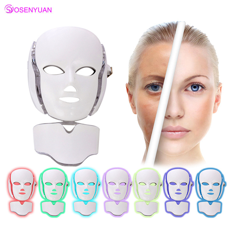 Новые 3/7 цветов фотон Электрический светодиодный маска для лица с шеи омоложения кожи анти акне морщин Красота лечение салон дома применени...