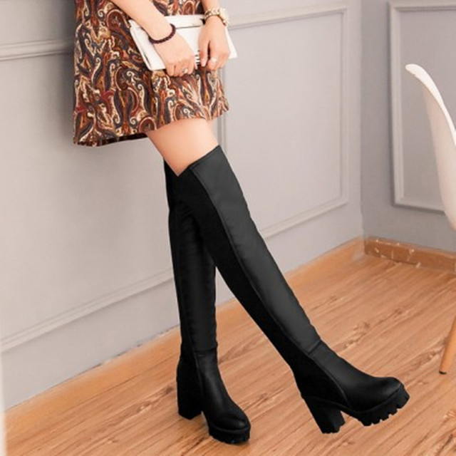 c1e310c2e57 US $46.9 |Black thick thick heels over the knee thigh high boots plus size  34 43 spring autumn winter stretch fabric high heel shoes-in Over-the-Knee  ...