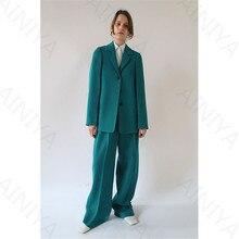 Turquoise Women's Business Suits Formal Office Pant Suits Female Work Wear 2 Piece Sets Three Button Uniform New Designs Blazer