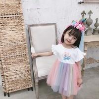 girls summer dresses unicorn dress & headband cute baby party dresses