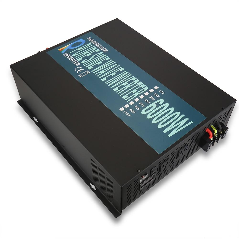 цена на 6000W Pure Sine Wave Solar Inverter 24V 220V Power Bank Generator Inverter Home Wind Transformer 12V/48V DC to 110V/120V/230V AC