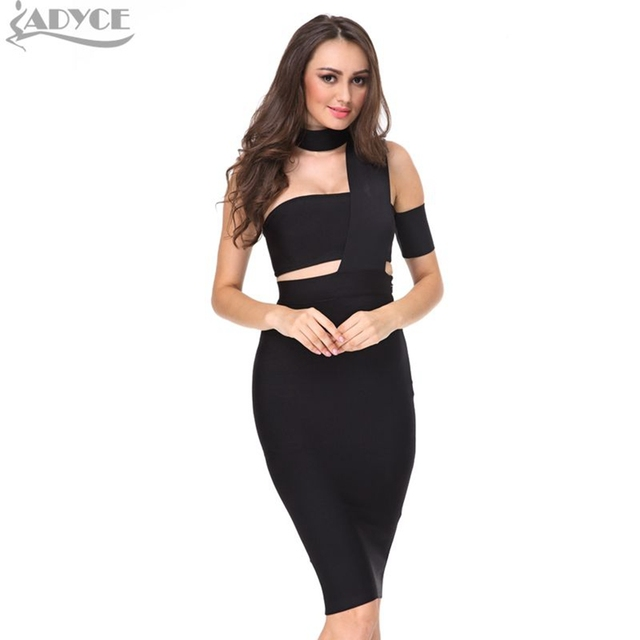 2018 New Spring Dress Women Black Bodycon Party Dresses White Apricot Cut Out one-shoulder Sexy Celebrity Runway Bandage Dress