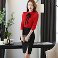 Women's Sets Knee-length Skirt Suit Or Pant Suit Full Sleeve Red Blouse With Tie Ol Work Wear Ladies' Shirts