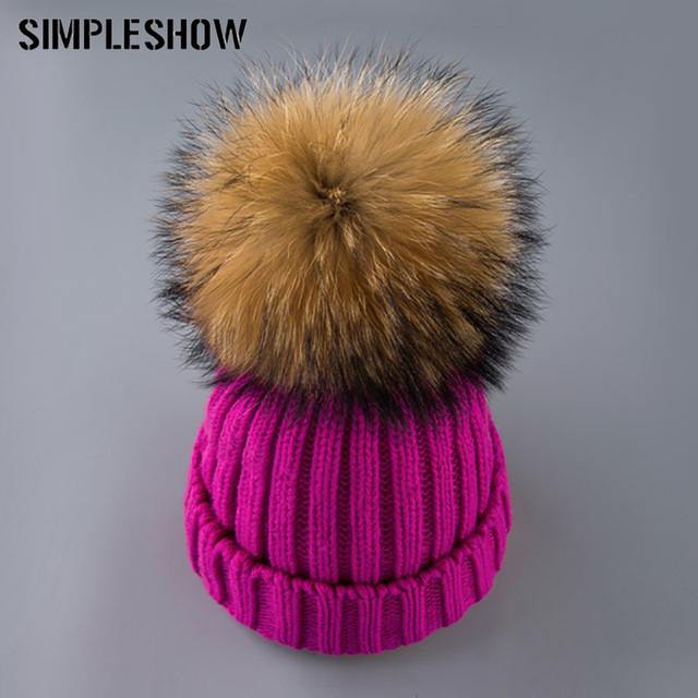 SIMPLESHOW 2018 Winter Hat Women fox fur ball cap Hat For Women Skullies Beanies Knitted girl Hat Ladies knitted beanies cap