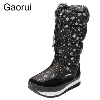 New winter ladies platform snow boots snowflakes pattern round toes tie calf high women thickening warm cotton boots Plus Size