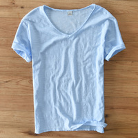 Italy Brand Suehaiwe S Fashion V Neck Light Gray T Shirt Men Cotton Short Sleeved Men