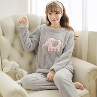 Korean Cute Women Fashion O neck Pajama Sets Womens Long Sleeve Cartoon Printed Elephant Sleepwear Female Lovely Females Ladies