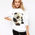 Panda Moletom Com Capuz Moda 2017 Camisola Ocasional Mulheres Hoodies Animal Print O-pescoço de Manga Comprida Pullover Treino Moletom Com Capuz Branco
