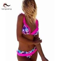 2018 New Bow Tie Ruffle Women Bikini Set Floral Print Two Piece Swimsuit Large Size Swimwear