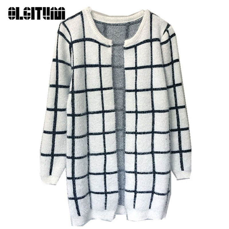 OLGITUM 2017 font b Women b font sweater foreign trade loose lattice horse hair outside the