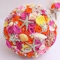 Naranja y Rosa Ramo De La Boda broche ramo nupcial de encargo de temática marina mar shell de la perla ramo de la boda suministros