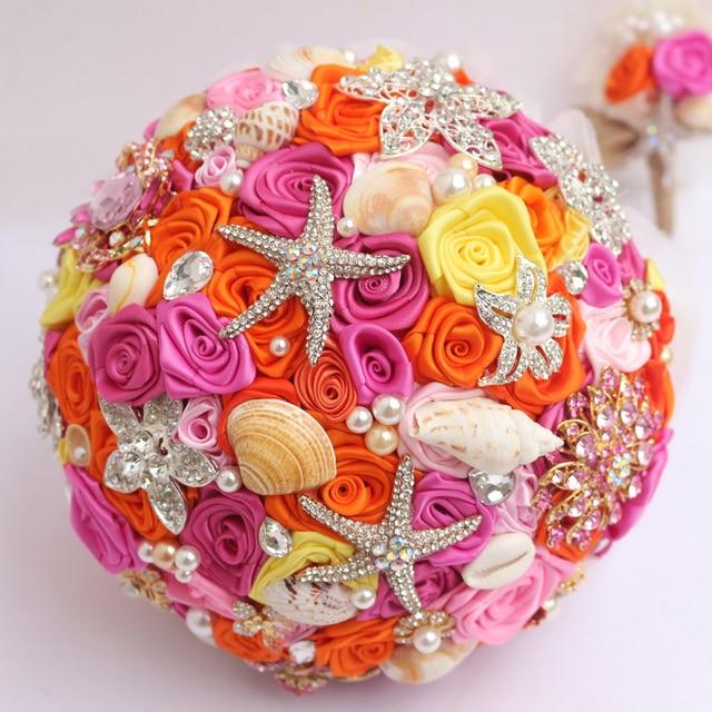 Orange & Pink Wedding Bouquet custom bridal brooch bouquet marine ...