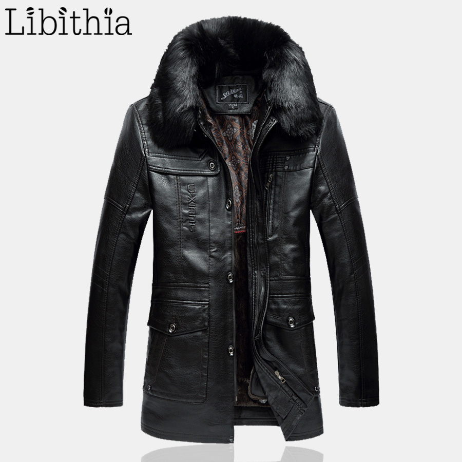 mens fleece pu leather long jackets with fur collar. Black Bedroom Furniture Sets. Home Design Ideas