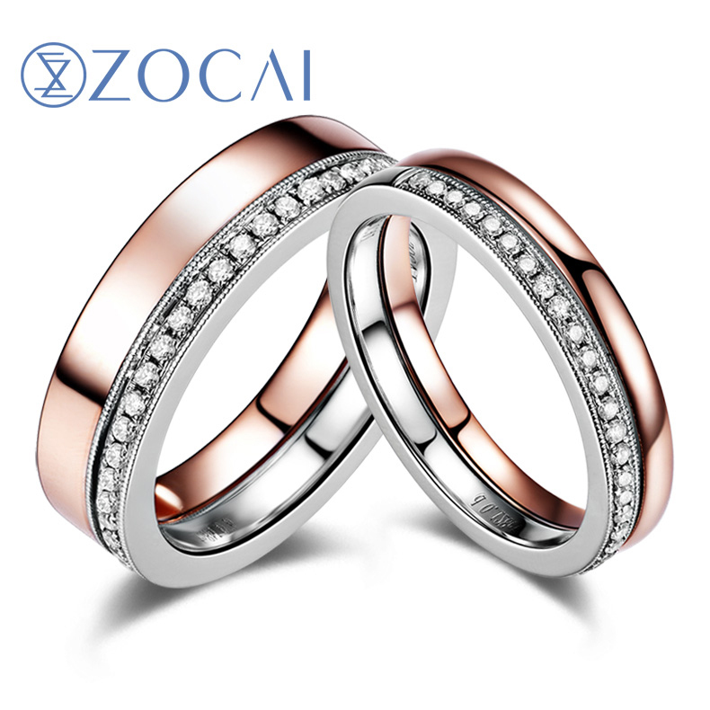 Online Zocai 0 26 Ct Certified Diamond Wedding Bands 18k White Gold Rose Au850 His And Hers Ring Q00939ab Aliexpress Mobile