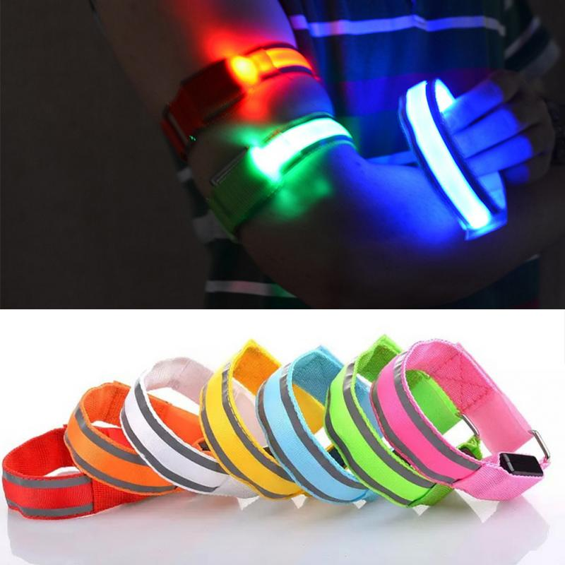 Image 5 - LED Reflective Light Arm Armband Strap Safety Belt For Night Running Cycling Hand Strap Wristband Wrist Bracelets #18-in Running Arm Warmers from Sports & Entertainment