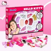 1 colorido conjunto hello kitty pulseira diy kits modelo de construção de plástico brinquedos hobbies moda hello kitty jóias presente de natal toy