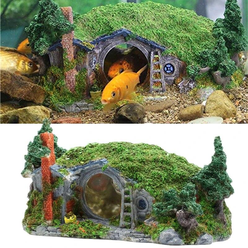 New Hobbit Artificial Aquarium House Decoration Reptile Shrimp Fish Tank Rock Cave Hiding Shelter Lascaping Ornament Castle Decorations Aliexpress