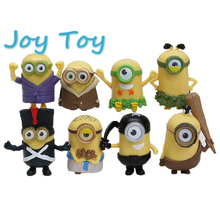 Top quality Despicable me Movie Minions New Model Vampire Primitive Pirate 6cm Minion PVC Action Figure Toys  8pcs/Set
