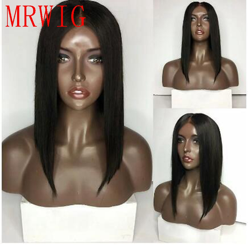 MRWIG short bob straight black/dark brown hair color synthetic heat resistant fiber front lace wig glueless ...