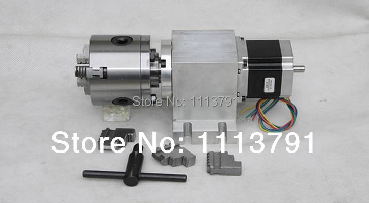 CNC Router Rotational Axis, the 4th Axis, A axis for the engraving machine,100mm 3-jaw Scroll Chuck ( With harmonic gear box)