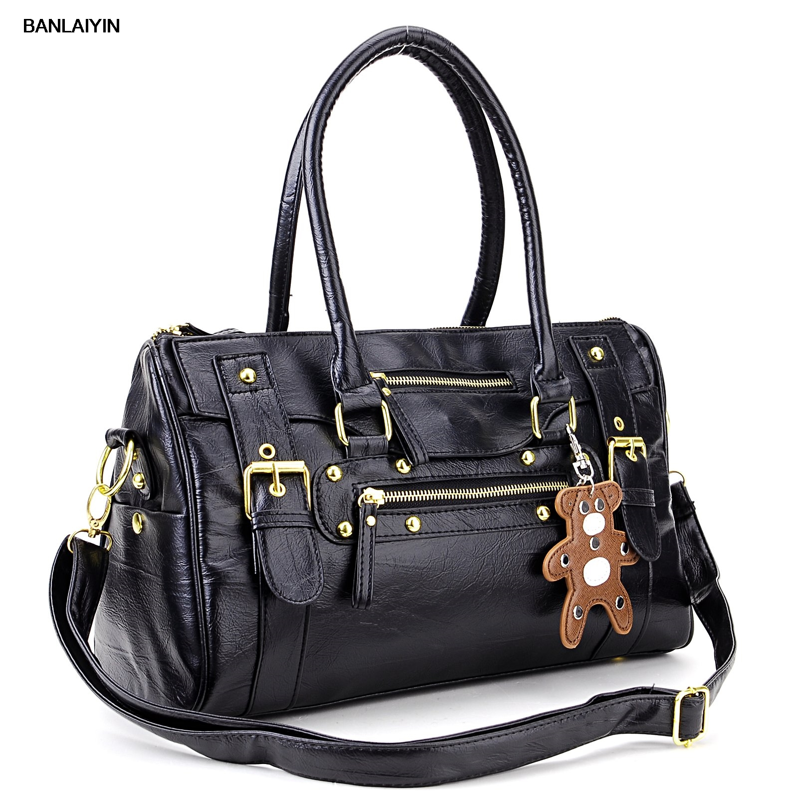 US $27.96 23% OFF|AUAU Sac A Main Porte Main Noir Pour Femmes Cuir PU En Rayure Rocher Ave Un Petit Ours in Shoulder Bags from Luggage & Bags on