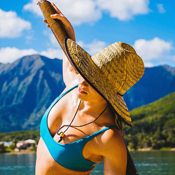 Natural Straw Weave Summer Women Beach Sun hat Outdoor Wide Brim Camouflage Kahuna Lifeguard Hat Size 56-58CM 1