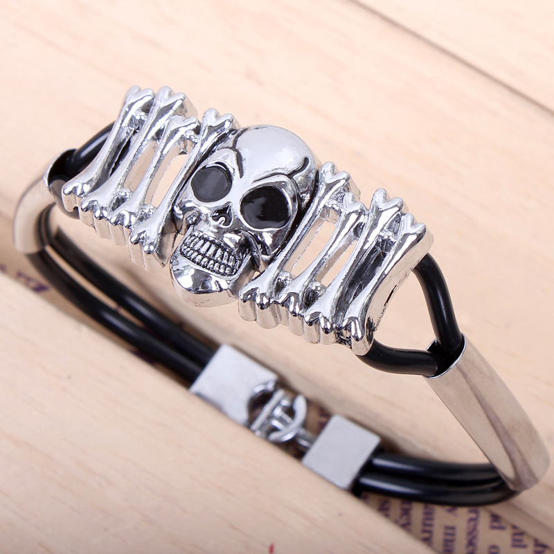 Fashion Leather Skull Bracelets Rock Punk Charms Braided Rope Cuff Bracelets Bangles For Men Gothic Gift Skeleton Jewelry
