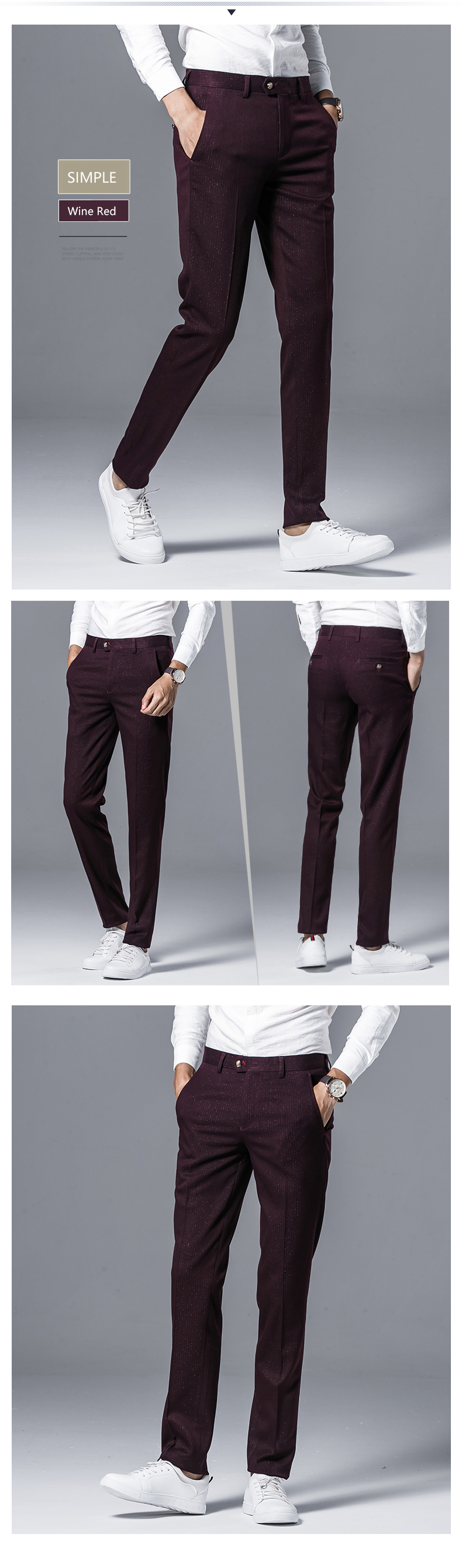 6e975e7b579a18 2019 Desirable Time Men Burgundy Suit Pants Slim Fit Size 28 36 ...