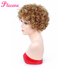 Plecare 2 Color Synthetic Wig Short Curly Pruiken Wigs With Bangs For Women Blonde Black Brown Natural Hair Full Wigs Hairstyles