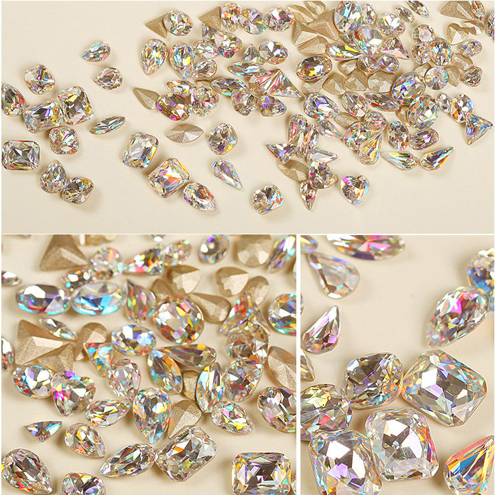 10pcs/lot Super Shiny Rhinestones For Nails Strass 3D Nail Art Decorations DIY Crystal Jewelry Accessoires White Clear AB