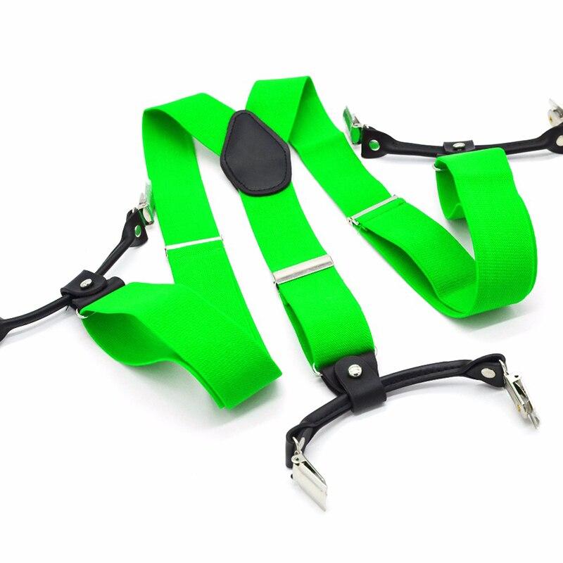 Green Brace For Women Men Black Suspenders 120cm Length Sliver 6 Clips On Suspenders Resist Belt Holiday Gift