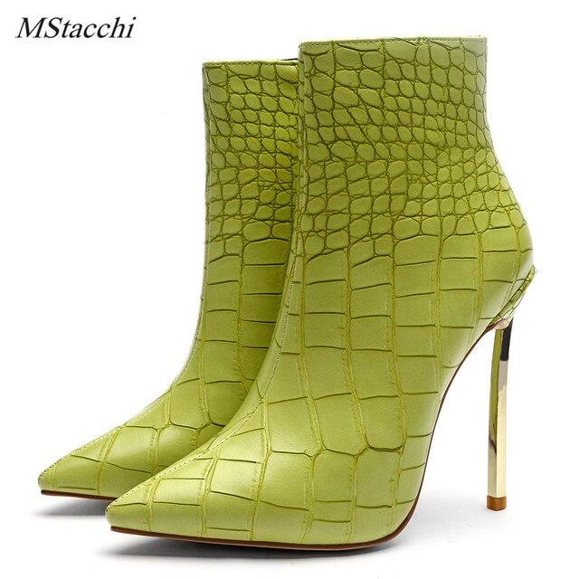 Mstacchi Sonbahar Kış Ayakkabı Bayanlar Için Yeşil Taş Desen Seksi Yüksek Topuklu Stilettos yarım çizmeler Moda Yılan Derisi Ayakkabı Kadın