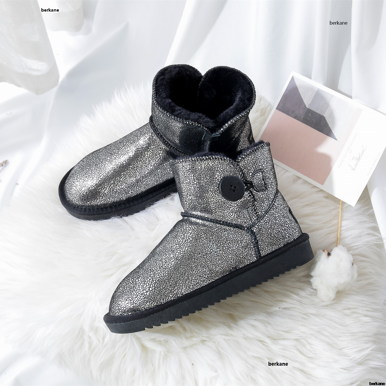 Genuine Leather Ankle Snow Boots Cow Suede Fur Button 2019 Plush Female Winter Warm Shoes Snowboots Flats Large Size 48 BlingGenuine Leather Ankle Snow Boots Cow Suede Fur Button 2019 Plush Female Winter Warm Shoes Snowboots Flats Large Size 48 Bling