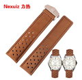 Genuine leather Cowhide Leather Straps 22mm bracelet with folding buckle deployment calsp special designer free shipping