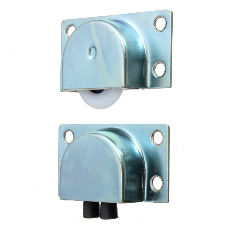 MTGATHER 4 Pairs Of White Plastic Metal Bearing Wheel For Sliding Wardrobe Track Doors 5.8x3.1cm