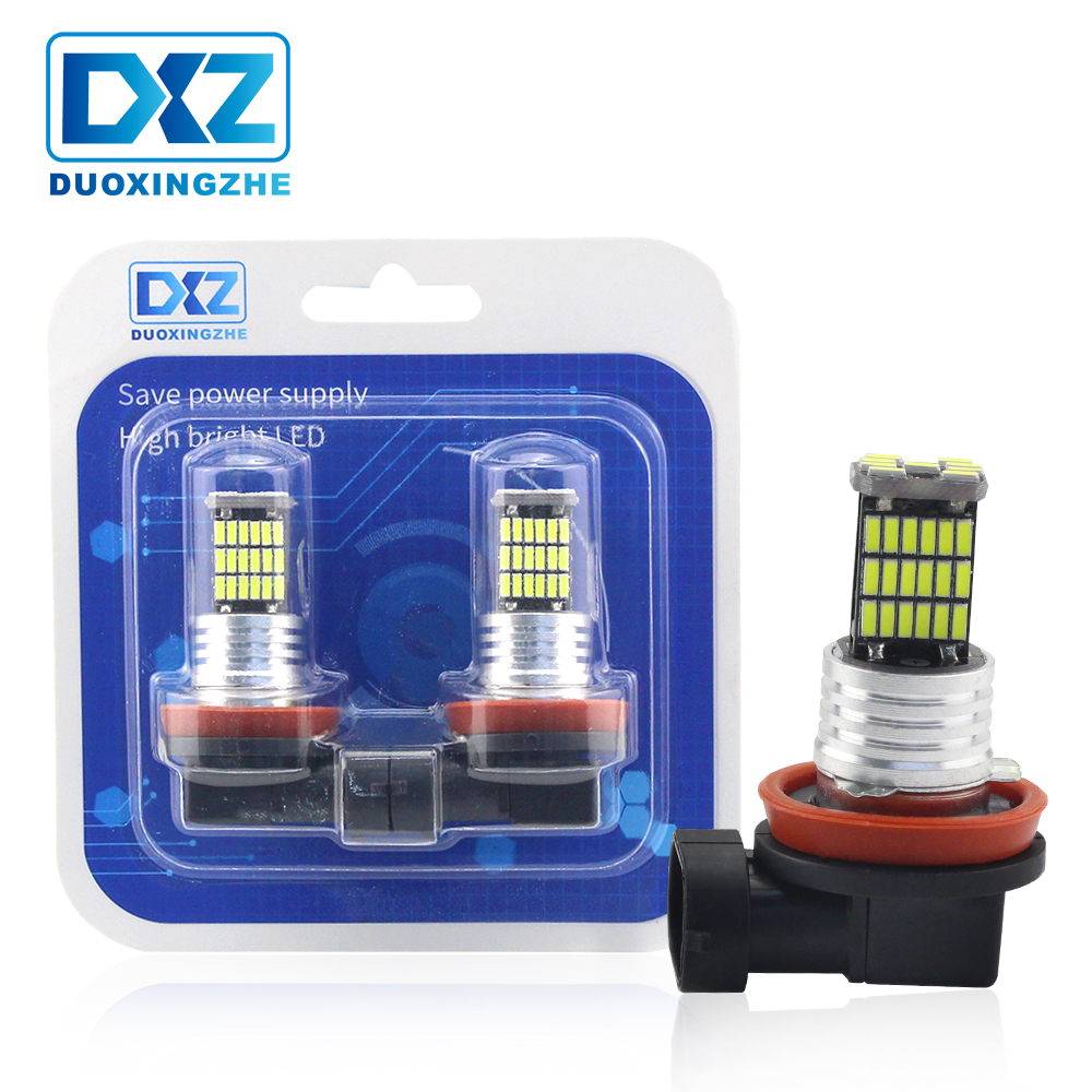 DXZ 1Pcs H8 H11 H9 LED Car Fog Light Lamp 12V 45SMD White 6000K DRL Auto Daytime Running External Turn Park Driving Vehicle Bulb