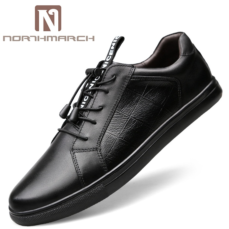 NORTHMARCH Fashion Brand Genuine Leather Men Casual Shoes Black Sneakers Men Top Quality Breathable Leather Shoes Mens Footwear eioupi top quality new design genuine real leather mens fashion business casual shoe breathable men shoes lh1288