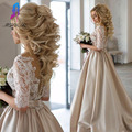 Champagne Satin Long Prom Dresses Party Evening Lace Half Sleeves Back Buttons Court Train Women Dress