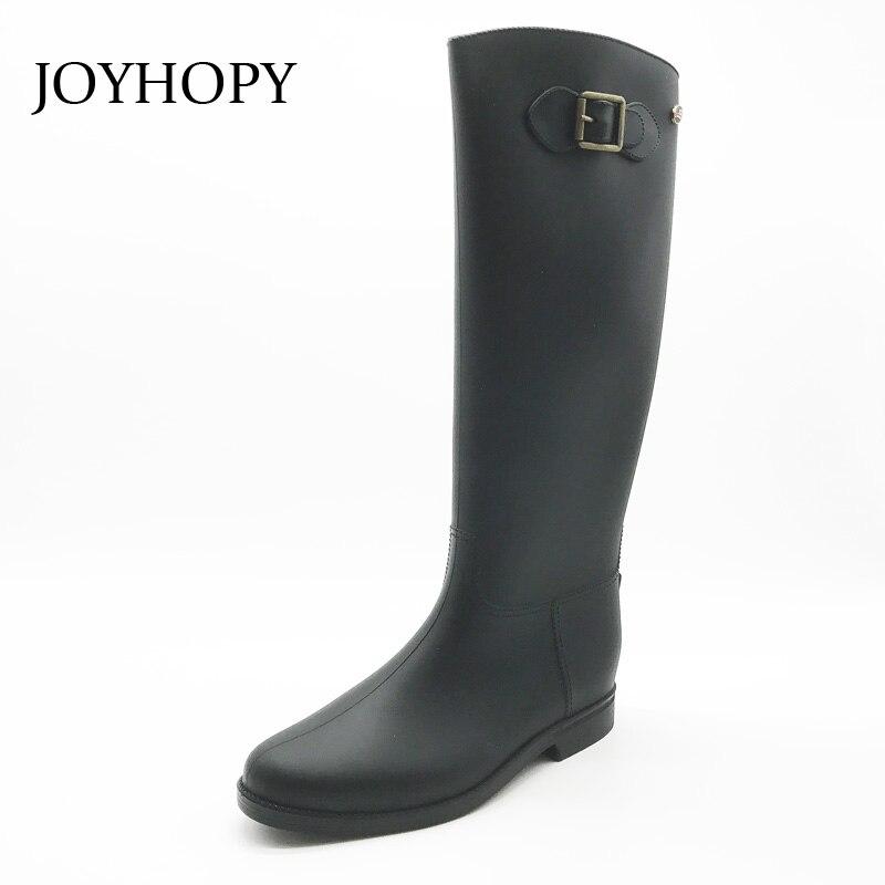 Imperméables Taille 36 Bottes Dames Printemps Chaussures Plus Femme En Joyhopy Pluie Black Awb0004 De Rainboots Haute 41 Genou La Caoutchouc Femmes OWTFzanq