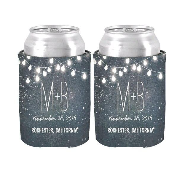 Personalized String Of Lights Night Stars Can Cooler Wedding Decor Favor Beverage Insulator Neoprne Beer
