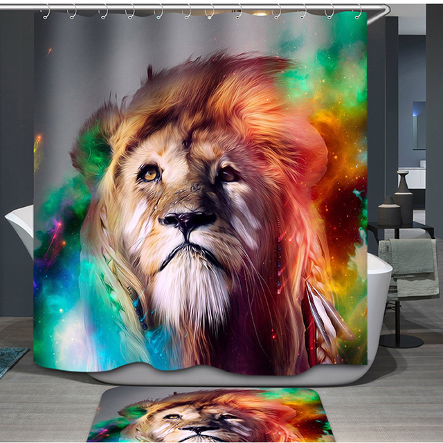 Homing Colorful Indian King Of Campo Lion Funny Man Shower Curtain Light Handicraft Polyester Waterproof Bathroom