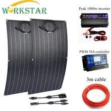 WORKSTAR 2 шт. ЭТФЭ гибкие солнечные панели 18V 100w Зарядное устройство для RV/лодка 200w Солнечные энергетические установки для начинающих 12V Солнечный Зарядное устройство