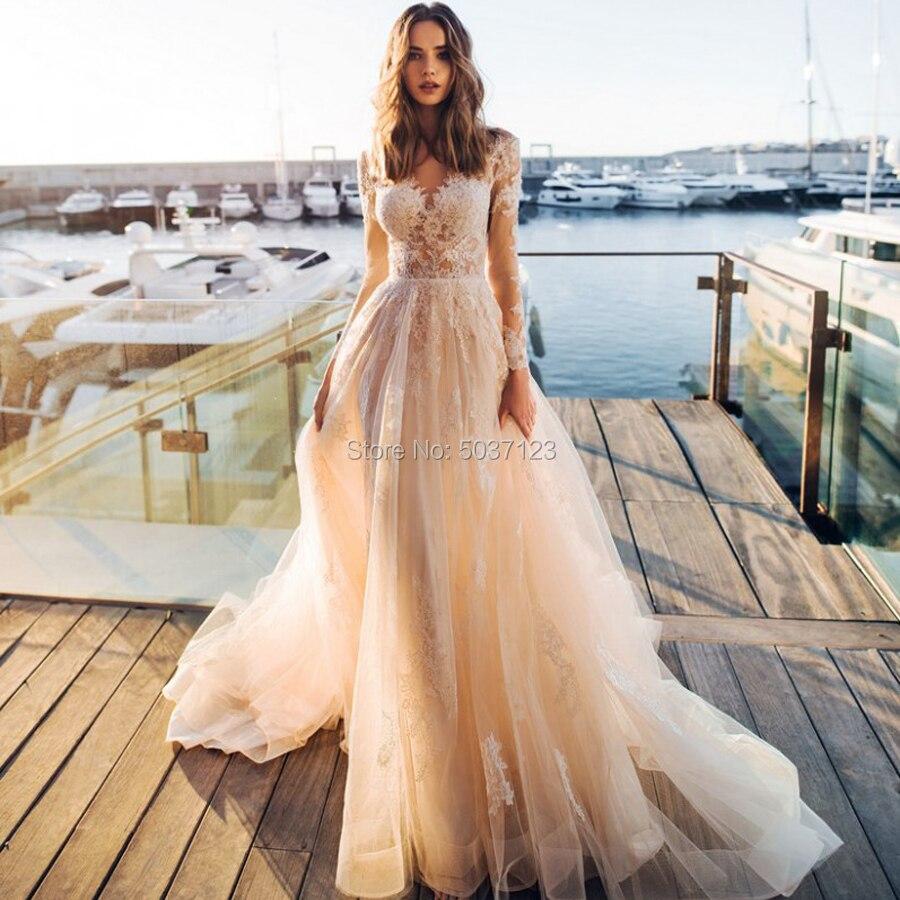 A Line Wedding Dresses Deep V Neck Long Sleeves Button Illusion Lace Appliques Wedding Bridal Gown Court Train Vestido De Noiva