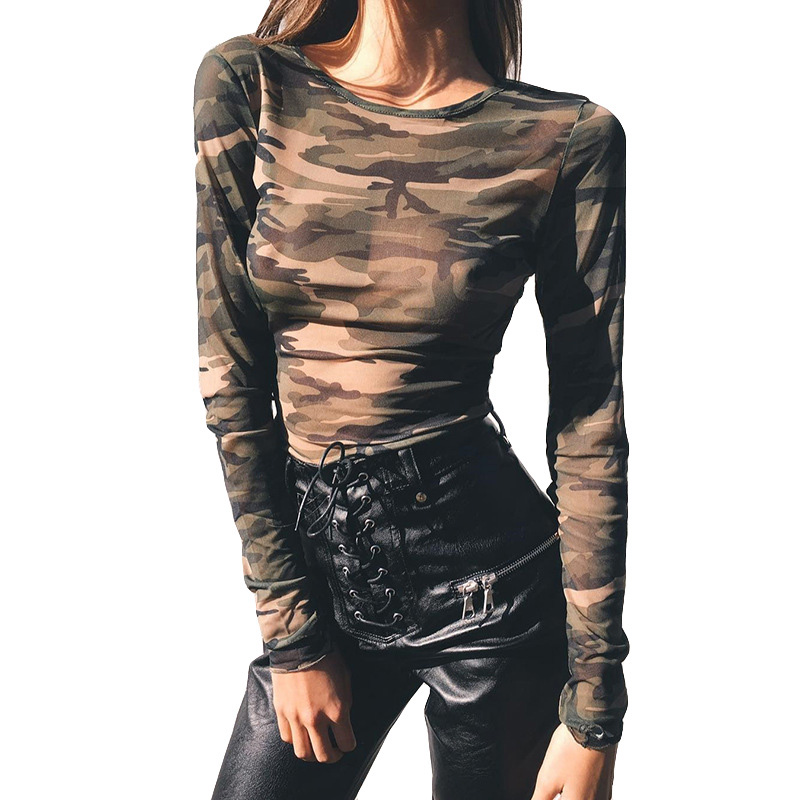 Camouflage T-shirt Army Long Sleeve T-shirts Female Sexy Crop Top Women See Through Mesh Tee Clubwear Christmas Shirt 2017 Mujer