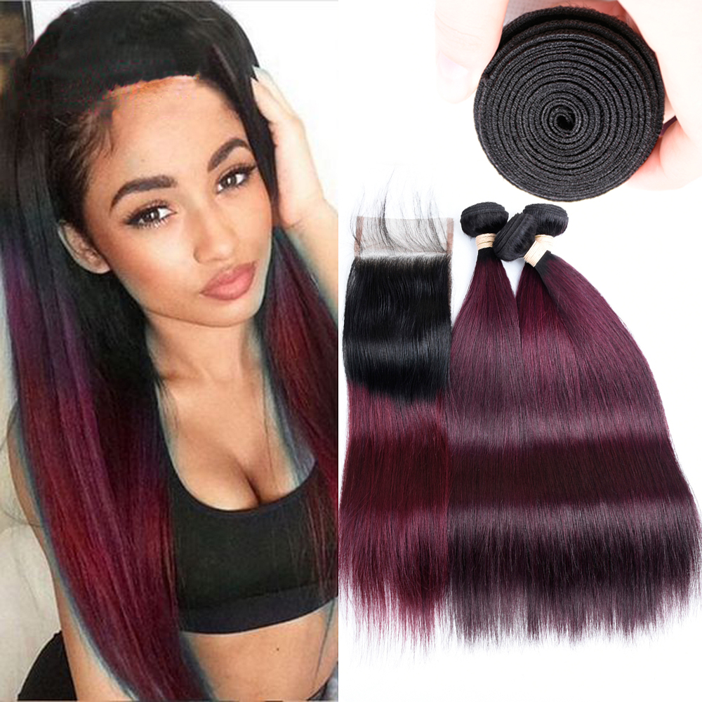 BEAUDIVA Pre-Colored Straight  Human Hair  With Lace Closure 4*4 TB/99J Ombre Color Brazilian Hair Bundles Weaves Extensions