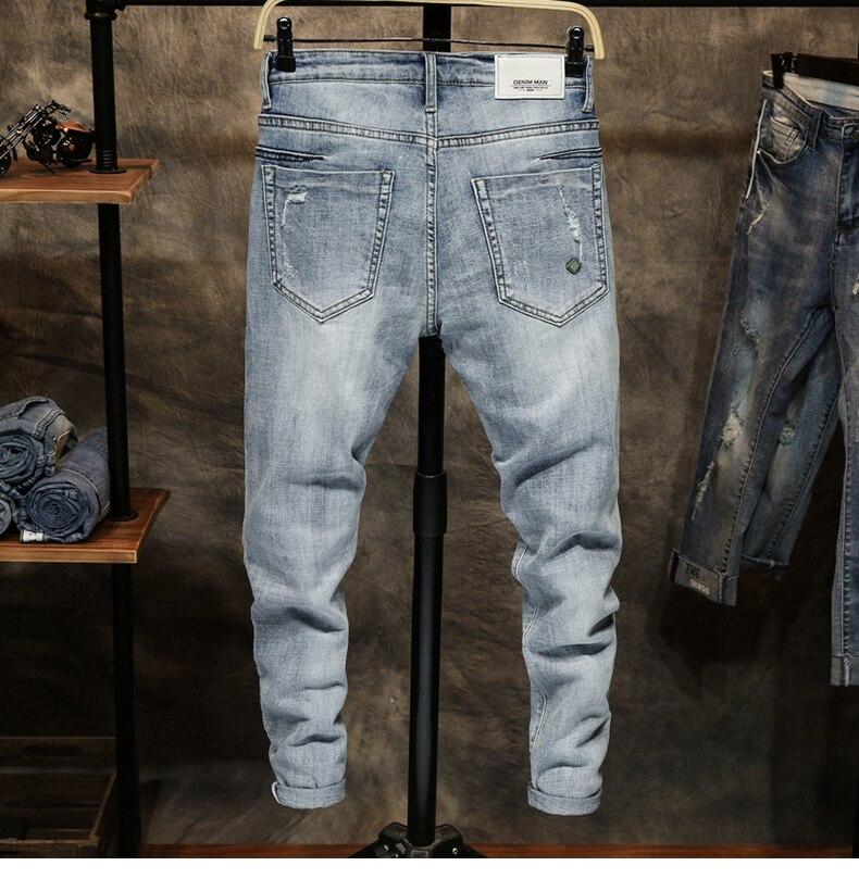 Ripped Jeans for Men Skinny Light Blue Gray Stretch Slim Leg Streetwear Distressed Moto Biker Jeans Male Denim Pants Hip Hop 12